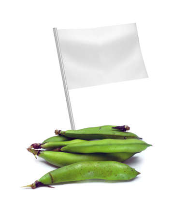 Healthy and organic food concept. Fresh broad bean pods with flag showing the benefits or the price of fruits. photo