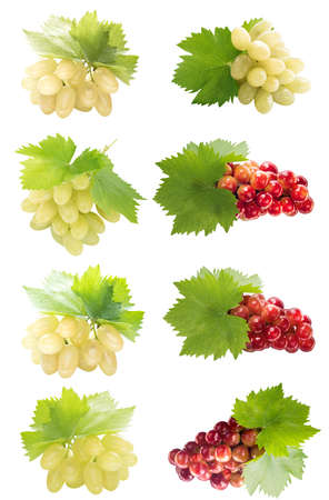 Healthy and organic food, Set of fresh green and red Grapes. photo