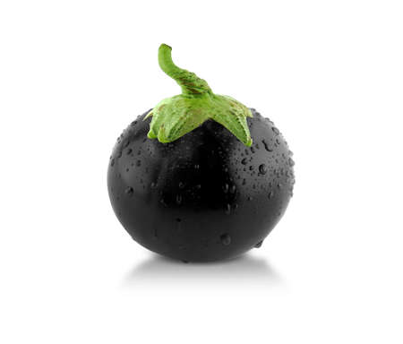 3d weird: Black Spherical Eggplant! with water drops, creative concept, something different.
