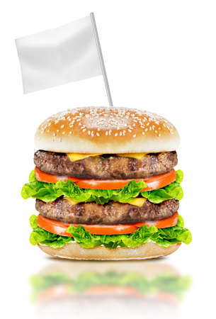 Delicious big burger with beef, tomato, cheese and lettuce with white flag on white background with clipping path. photo