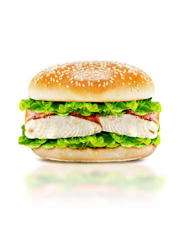 Delicious burger with beef, tomato, cheese and lettuce on white background with clipping path. photo