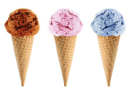 summer diet: Blackberry, strawberry and chocolate Ice cream in the cone on white background with clipping path.