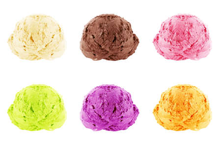 Ice cream scoops on white background with clipping path. photo