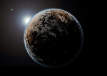 Planet landscape in space photo