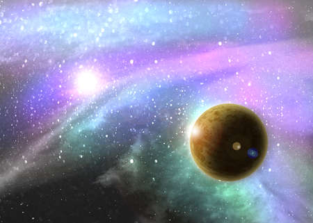 vast: Fantasy deep space nebula with planet and stars