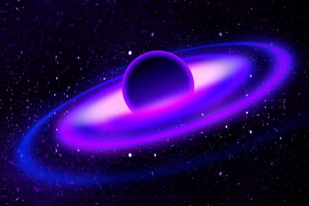 orbits: Fantasy deep space nebula with planet and stars