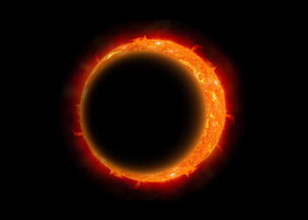 corona: The eclipse of the moon, Abstract scientific background - full eclipse, black hole.
