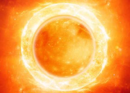 outer space: The sun in space.