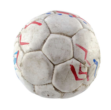 Grunge football or soccer ball on white background. photo