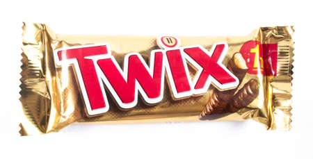 Amman, Jordan - December 5, 2014: Twix chocolate bar isolated on white background. Twix chocolate bar made by Mars, Incorporated.