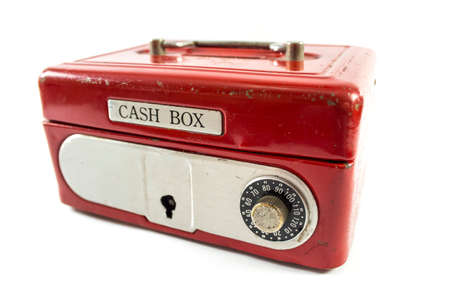 Red cash box on white background. photo
