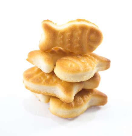 pretzels: salted cookies stack on white background.