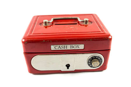 cash box: Red cash box on white background.