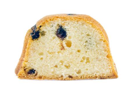 Raisin cake isolated on white background. photo