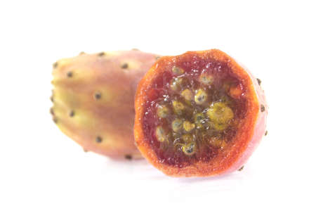 Barbary figs، cactus pears isolated on white. photo
