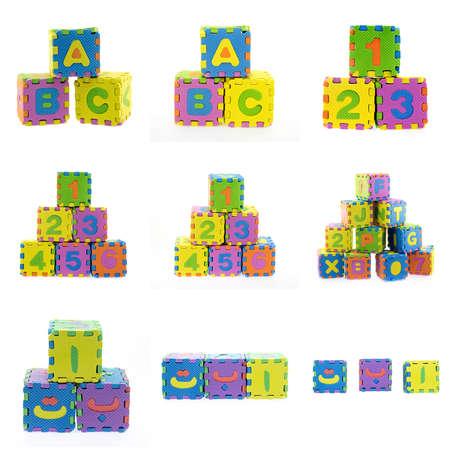 arabische letters: de eerste drie Arabische letters en engels taal brieven gemaakt van Alfabet puzzel op een witte achtergrond