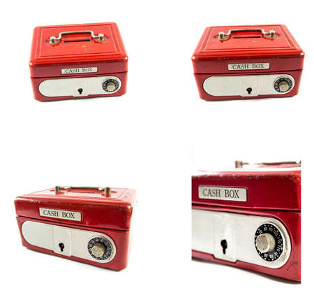 cash box: Red cash box on white background.