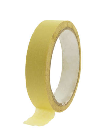 tear duct: Paper adhesive tape on light background. Stock Photo
