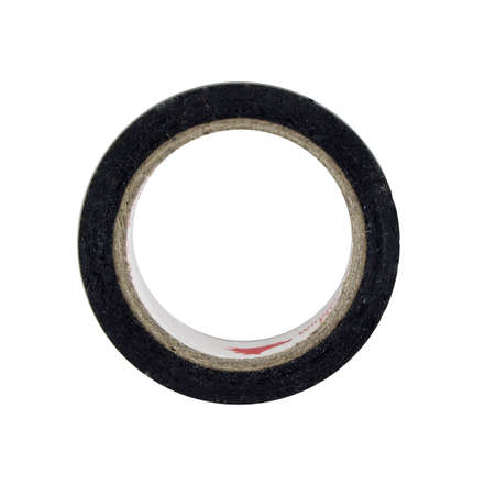 tear duct: black adhesive tape on light background. Stock Photo
