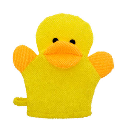 Yellow duck baby shower sponge, Bath object white background photo