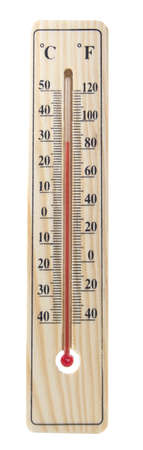 term�metro: term�metro de madera aisladas en blanco Foto de archivo
