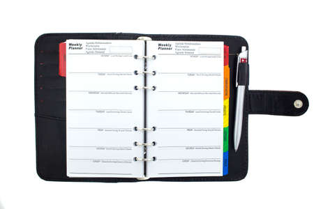 organizer page: Blank notebook, copybook, personal organizer on white.