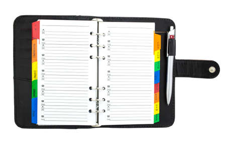 Blank notebook, copybook, personal organizer on white. photo
