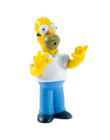 homer: Amman, Jordan - November  1, 2014:  homer Simpson figure toy character from The Simpsons family. The Simpsons is an American animated sitcom.