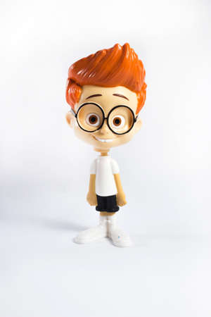smart boy: Cute smart boy character on white Stock Photo