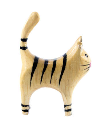 Cat figurine made of wood photo