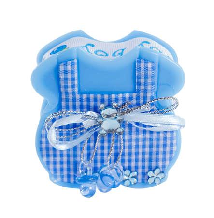 souvenir: baby boy souvenir, blue Apron box for candy.