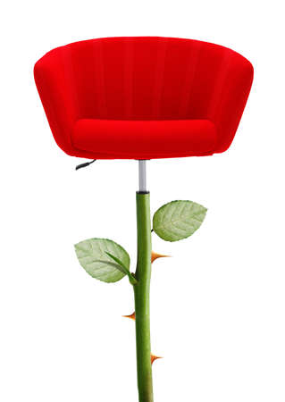 heed: Red Chair with rose stem and thorn, clipping path and alpha channel included.