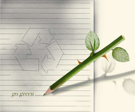 heed: Green pencil rose stem and thorn with leaves.