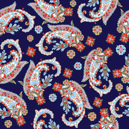 Indian paisley pattern with navy background 일러스트