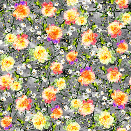 Watercolor flower with Abstract background