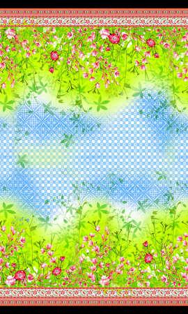 flower both side horizontal border pattern