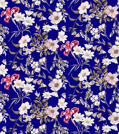 seamless floral pattern on navy background
