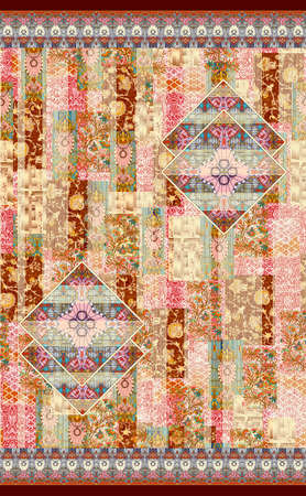 paisley with floral  Strip Line Pattern Stock Photo
