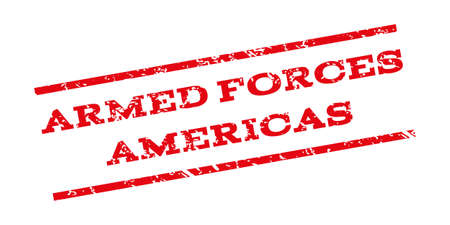 americas: Armed Forces Americas watermark stamp. Text tag between parallel lines with grunge design style. Rubber seal stamp with dust texture. Vector red color ink imprint on a white background. Illustration