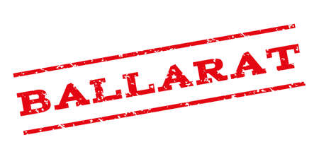 ballarat: Ballarat watermark stamp. Text tag between parallel lines with grunge design style. Rubber seal stamp with dirty texture. Vector red color ink imprint on a white background.