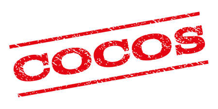 cocos: Cocos watermark stamp. Text tag between parallel lines with grunge design style. Rubber seal stamp with unclean texture. Vector red color ink imprint on a white background.