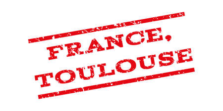 toulouse: France Toulouse watermark stamp. Text tag between parallel lines with grunge design style. Rubber seal stamp with dirty texture. Vector red color ink imprint on a white background.