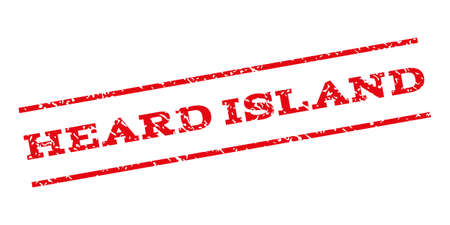 heard: Heard Island watermark stamp. Text tag between parallel lines with grunge design style. Rubber seal stamp with dirty texture. Vector red color ink imprint on a white background. Illustration