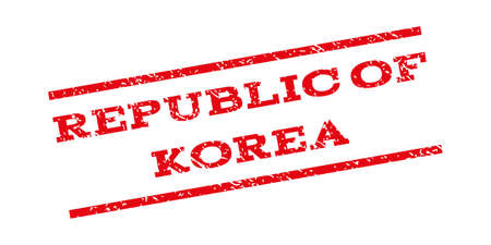 republic of korea: Republic Of Korea watermark stamp. Text caption between parallel lines with grunge design style. Rubber seal stamp with scratched texture. Vector red color ink imprint on a white background.