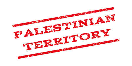 Palestinian Territory watermark stamp. Text caption between parallel lines with grunge design style. Rubber seal stamp with scratched texture. Vector red color ink imprint on a white background.
