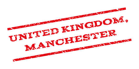 manchester: United Kingdom Manchester watermark stamp. Text tag between parallel lines with grunge design style. Rubber seal stamp with unclean texture. Vector red color ink imprint on a white background. Illustration