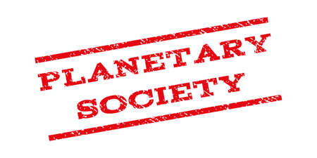 planetary: Planetary Society watermark stamp. Text tag between parallel lines with grunge design style. Rubber seal stamp with dirty texture. Vector red color ink imprint on a white background.