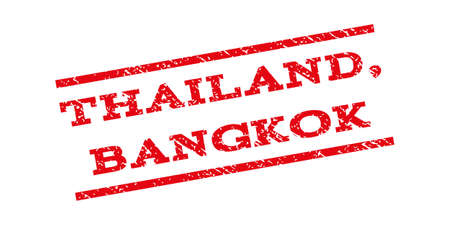 thailand bangkok: Thailand Bangkok watermark stamp. Text caption between parallel lines with grunge design style. Rubber seal stamp with dust texture. Vector red color ink imprint on a white background. Illustration