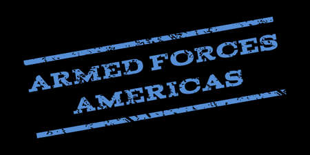 americas: Armed Forces Americas watermark stamp. Text tag between parallel lines with grunge design style. Rubber seal stamp with dirty texture. Glyph blue color ink imprint on a black background.