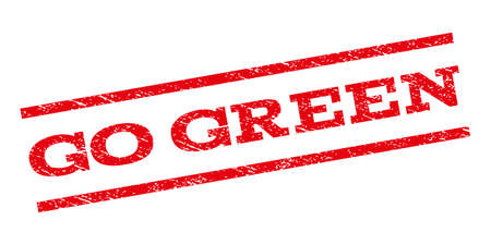 go green background: Go Green watermark stamp. Text tag between parallel lines with grunge design style. Rubber seal stamp with dirty texture. Vector red color ink imprint on a white background.